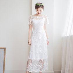 럭스 플라워 셀프웨딩 롱 드레스