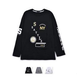 남성 NY 뉴욕 레터링 긴팔 티셔츠 RDLT60
