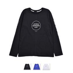 남성 라운드 심플 레터링 긴팔 티셔츠 RDLT59