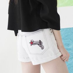 Ring Detail Denim Hot Pants (WHITE)