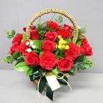 비누장미카네이션꽃바구니30-레드