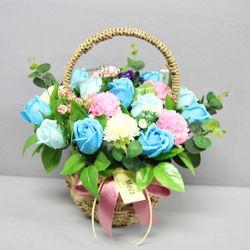 비누장미카네이션꽃바구니30-블루