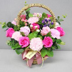 비누장미카네이션꽃바구니30-진핑크