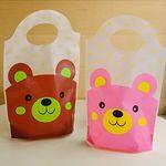 비닐쇼핑백 스탠드형 - 곰돌이 핑크 10장