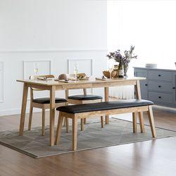 고메 와이드 4인 식탁 세트(벤치+의자2)
