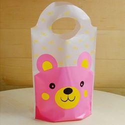 [대용량] 비닐쇼핑백 스탠드형 - 곰돌이 핑크 250장