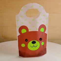 [대용량]비닐쇼핑백 스탠드형 - 곰돌이 브라운 250장
