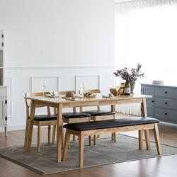고메 와이드 6인 식탁 세트(벤치+의자3)