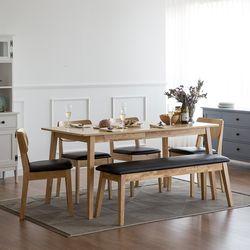 고메 와이드 6인 식탁 세트(벤치+의자4)