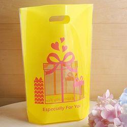 비닐쇼핑백 스탠드형 - 투명창선물 옐로우 10장