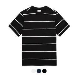 바리케이트 스트라이프 포켓 티셔츠 - 블랙