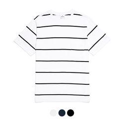 바리케이트 스트라이프 포켓 티셔츠 - 화이트