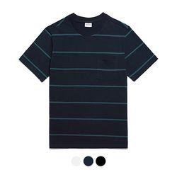 바리케이트 스트라이프 포켓 티셔츠 - 네이비