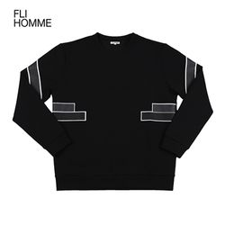 [FLI HOMME][HM0007] 배색 라인 맨투맨 - 블랙