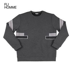 [FLI HOMME][HM0007] 배색 라인 맨투맨 - 챠콜