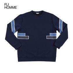 [FLI HOMME][HM0007] 배색 라인 맨투맨 - 네이비