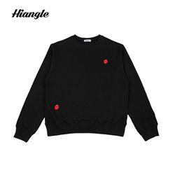 [HIANGLE][H003]장미 icon 맨투맨 - 블랙
