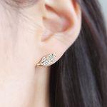 깃털 나뭇잎 14K Gold Dipped Earrings
