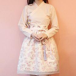 [다함한복] 벚꽃 오간자 허리치마