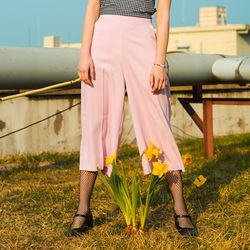 Wide Banding Pants-Pink