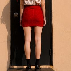 [오연서 착용] Shiny Pocket Mini Skirt-Red