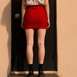 Shiny Pocket Mini Skirt-Red