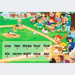 동화배경 유아교육용포스터 학습벽보 123 베이스볼