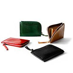 일본 도치기 천연 베지터블가죽 지퍼 슬림 지갑