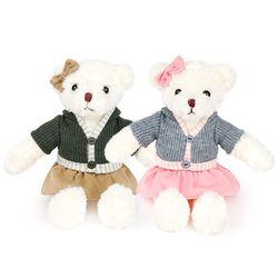 니트 테디베어 여자곰 인형-30cm(옵션선택)