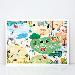 동물원 스티커 유아 포스터