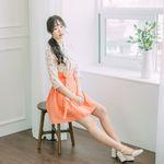 서리나래 다홍 숏 허리치마