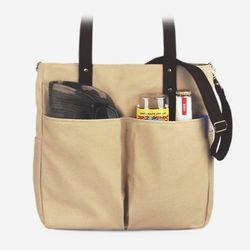Super Oxford 6 Pocket 3 Way Bag - Ivory Brown