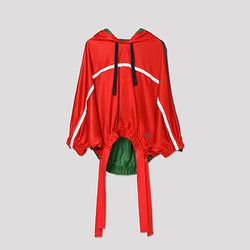 Hoody Mesh Track Blouse (Red)