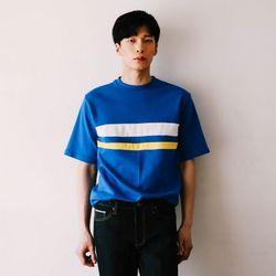 [무료배송] 오버핏 배색 티셔츠 :블루