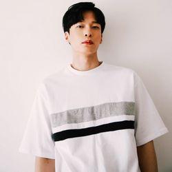 [무료배송] 오버핏 배색 티셔츠 :화이트