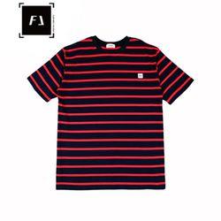 [FLION] 베이직 스트라이프 티셔츠 - 레드