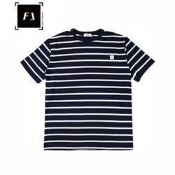 [FLION] 베이직 스트라이프 티셔츠 - 네이비