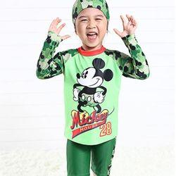디즈니 미키마우스 래쉬가드 수영복 (마스코트 패턴)