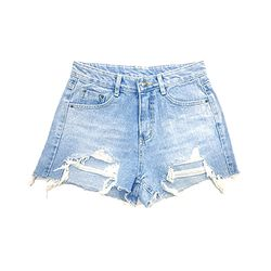 Unbalance Cut out Denim Shorts(GIRLS)
