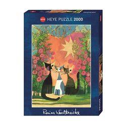 2000조각 금장퍼즐 - 장미꽃 아래 고양이들 (HE29721)