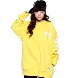 슈퍼크록액션 플라워 프린트 스웨트셔츠 옐로우