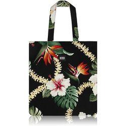 Layla Hawaiian Flat Tote Bag (Black)