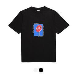 바리케이트 STOP나염 티셔츠 - 블랙