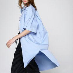 코튼 셔츠 원피스 블루