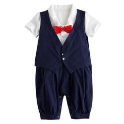 빨간 리본 넥타이 턱시도 우주복 (3-24개월)300065