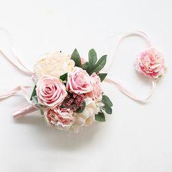 핑크 로즈피오니 플라워부케꽃팔찌세트