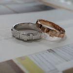 14k 사각 십자가 볼록 커플 묵주반지 - 여자(3mm)