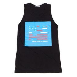 UNISEX USA Printing sleeveless (BLACK)