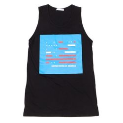 UNISEX USA Printing sleeveless (BLACK)