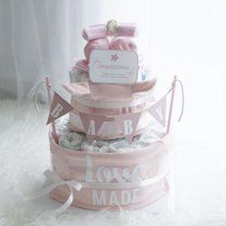 쥬땜므 핑크2단 기저귀케익(의류4종)